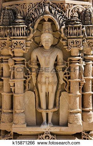 Stock Images of Ornate carved pillar in the Mahavira Temple.