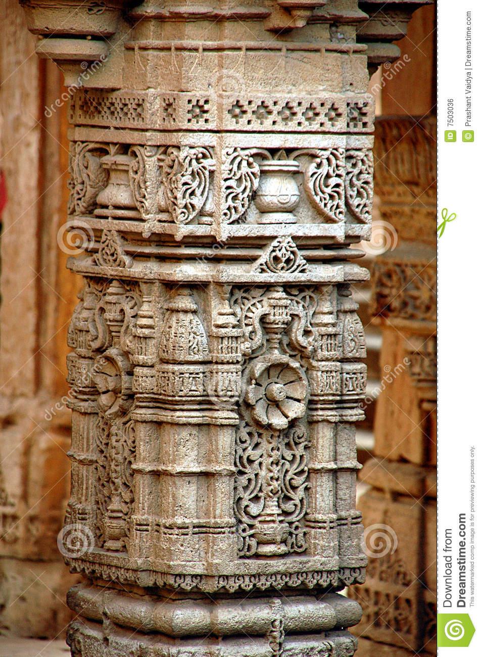 Stone Carving On Pillar Royalty Free Stock Image.