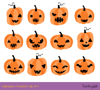 Cute Halloween pumpkins clipart set, Spooky carved pumpkin face jack o  lantern.