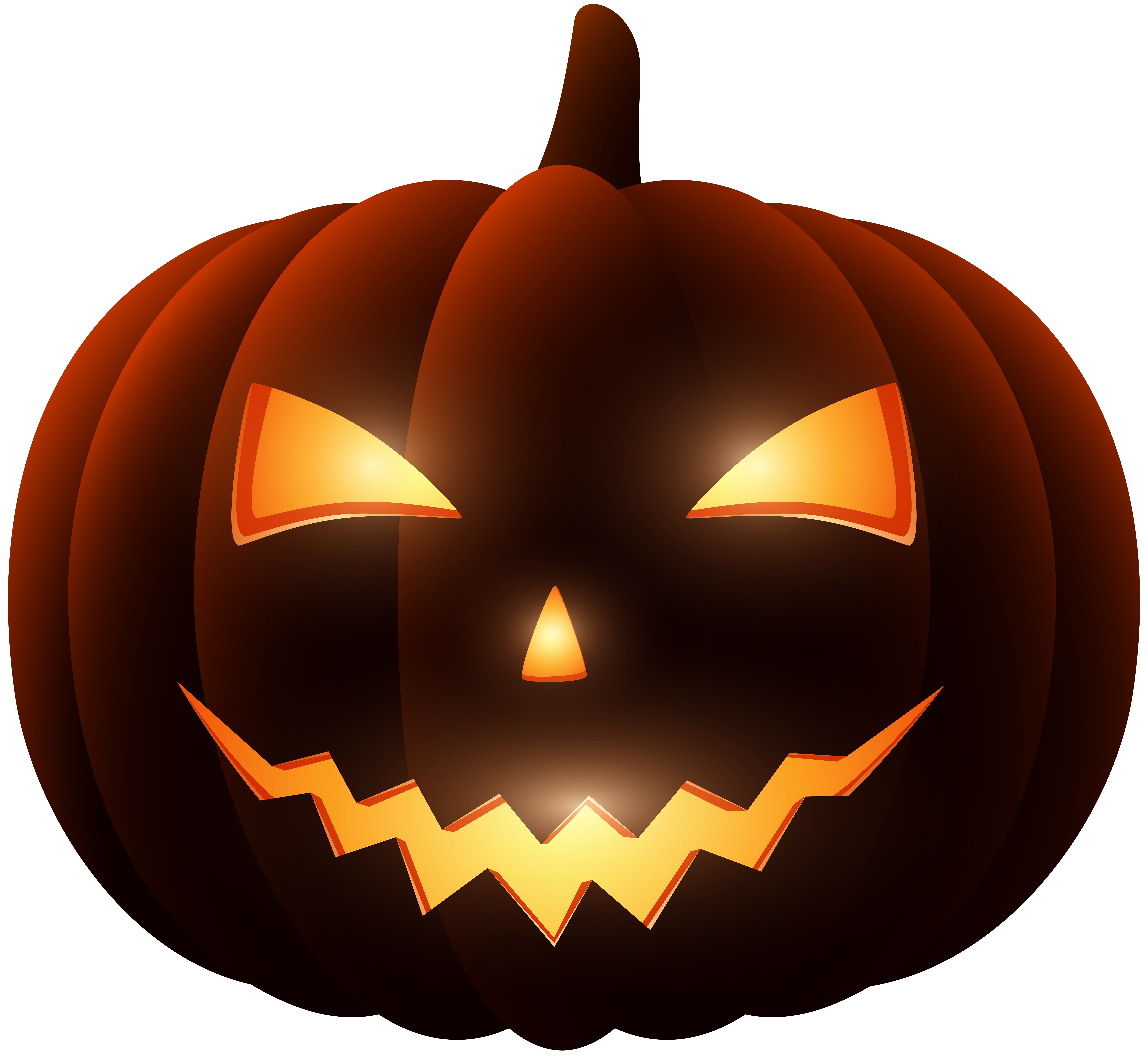 Dark Carved Pumpkin PNG Clip Art.