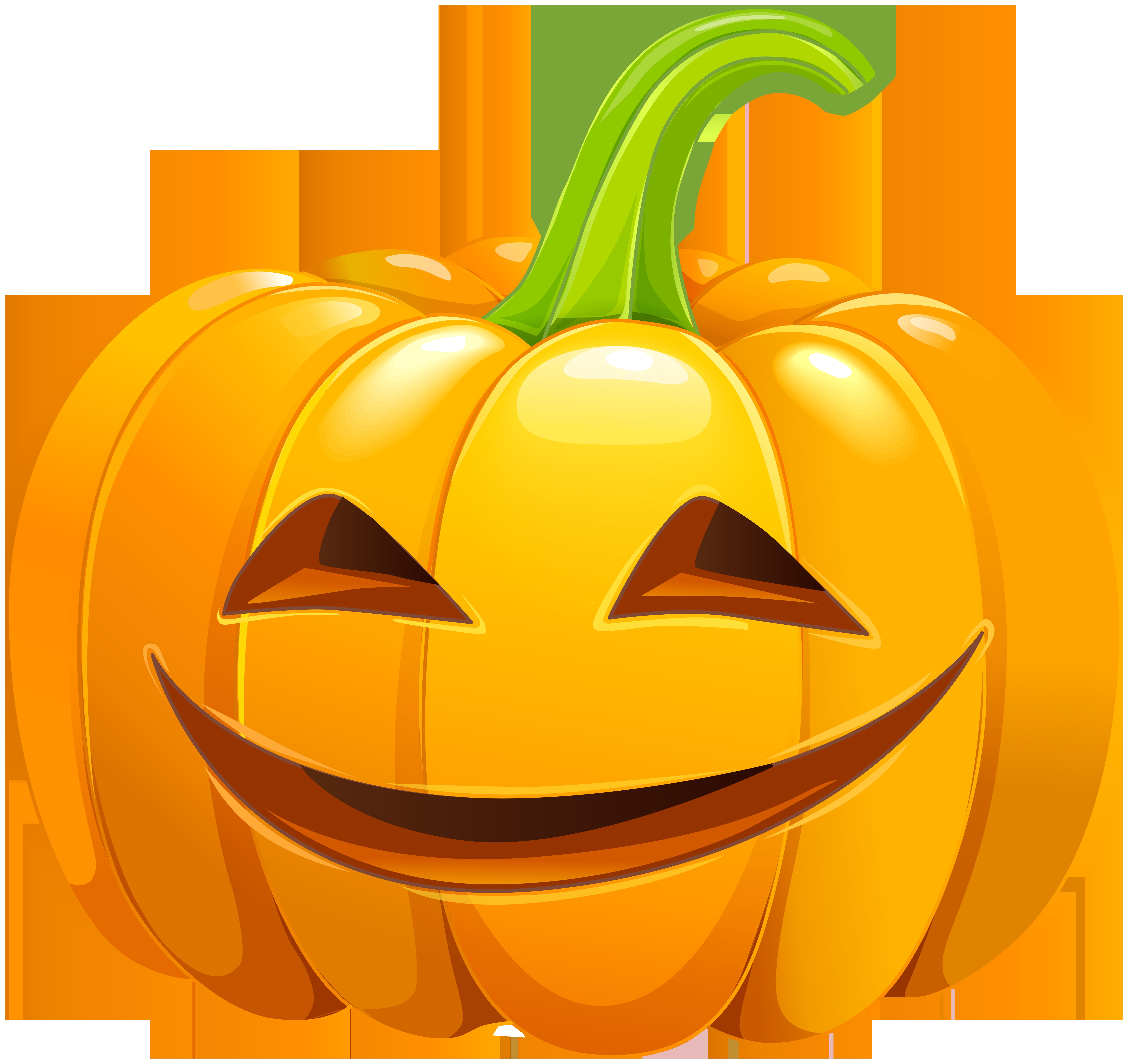 Smiling Carved Pumpkin PNG Clip Art Image.