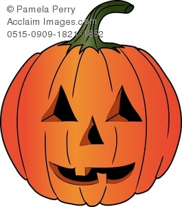 Clip Art Illustration of a Carved Halloween Pumpkin.