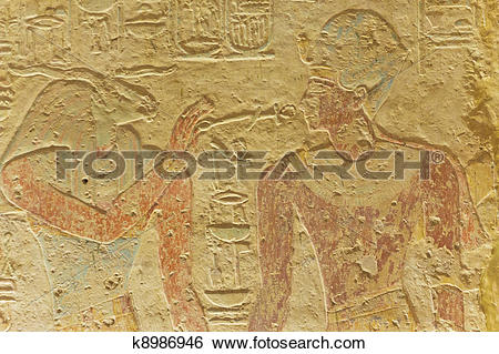 Stock Images of Ancient Egyptian Gods in carved wall. Preserved.