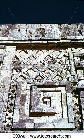Stock Photography of Carved Wall on Mayan Ruins Mexico 008wa1.