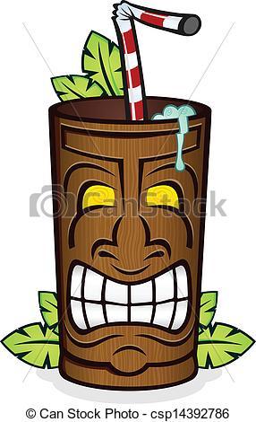 Vector of Tiki God Wooden Cup Cartoon.