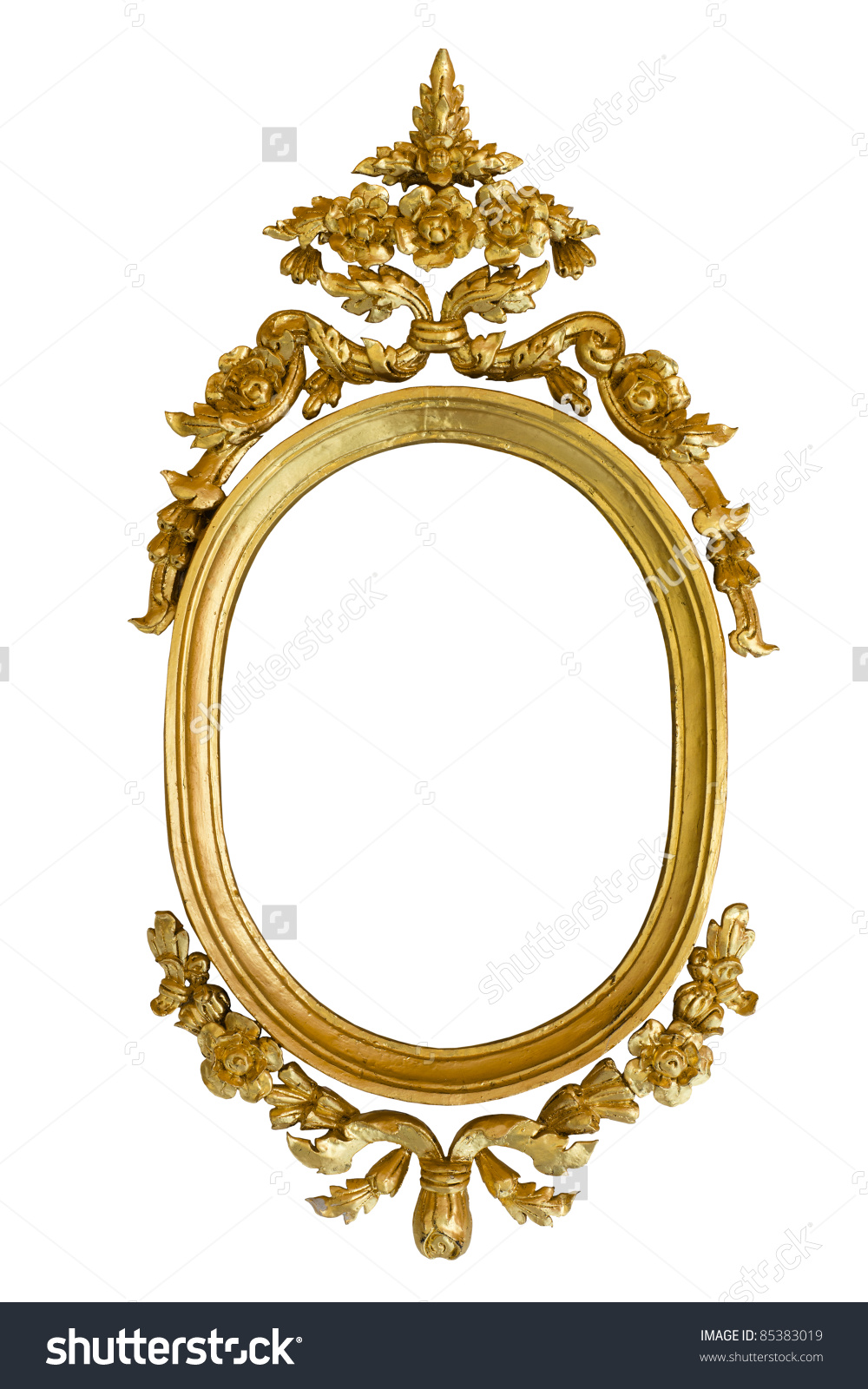Gold Carved Oval Wood Frame Isolated On White Background Stock.
