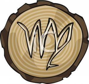Astrological Sign For Virgo Carved Into Wood Clip Art Image.