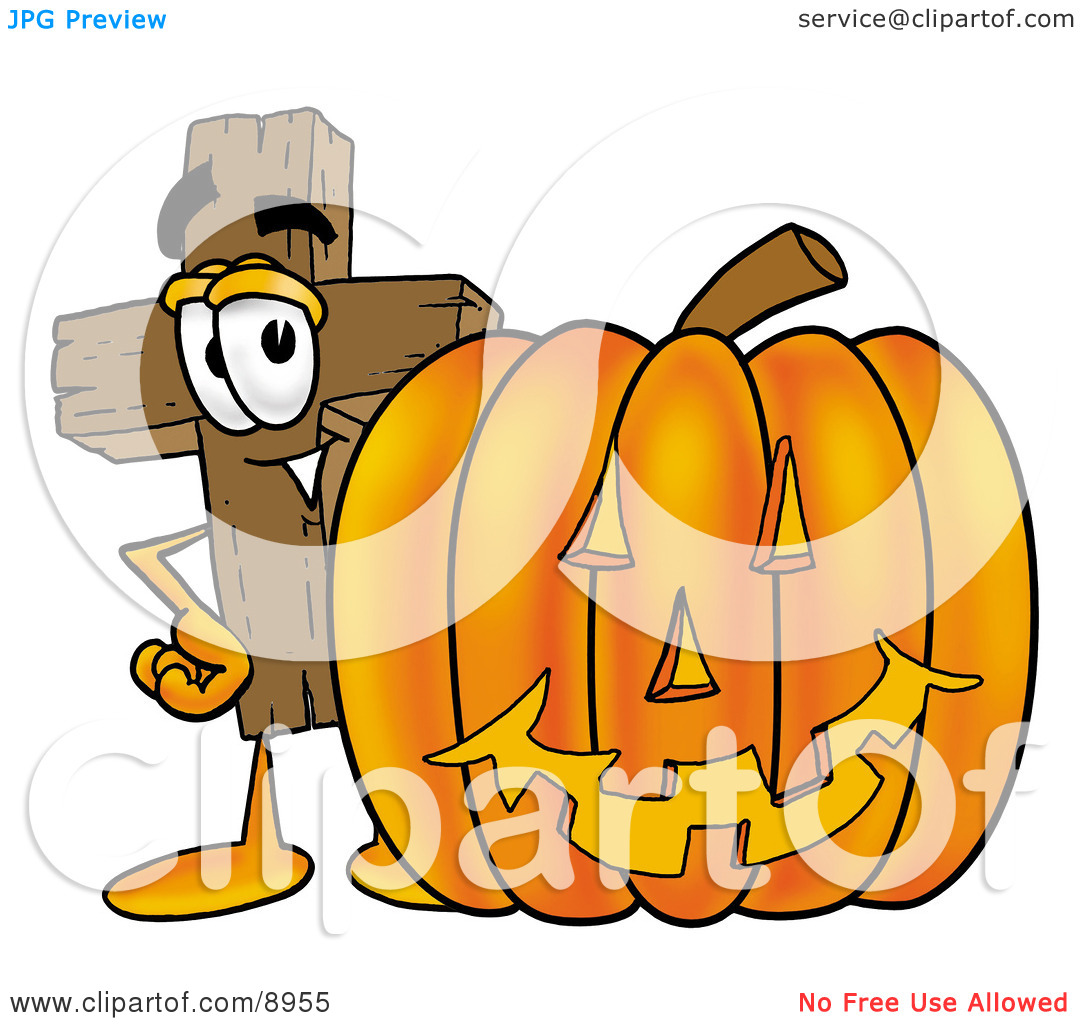 Clipart Picture of a Wooden Cross Mascot Cartoon Character With a.