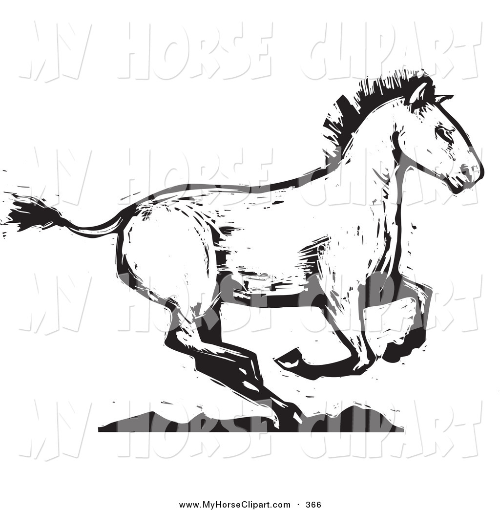 Clip Art of a Fast Black and White Wood Carved Texture Horse.