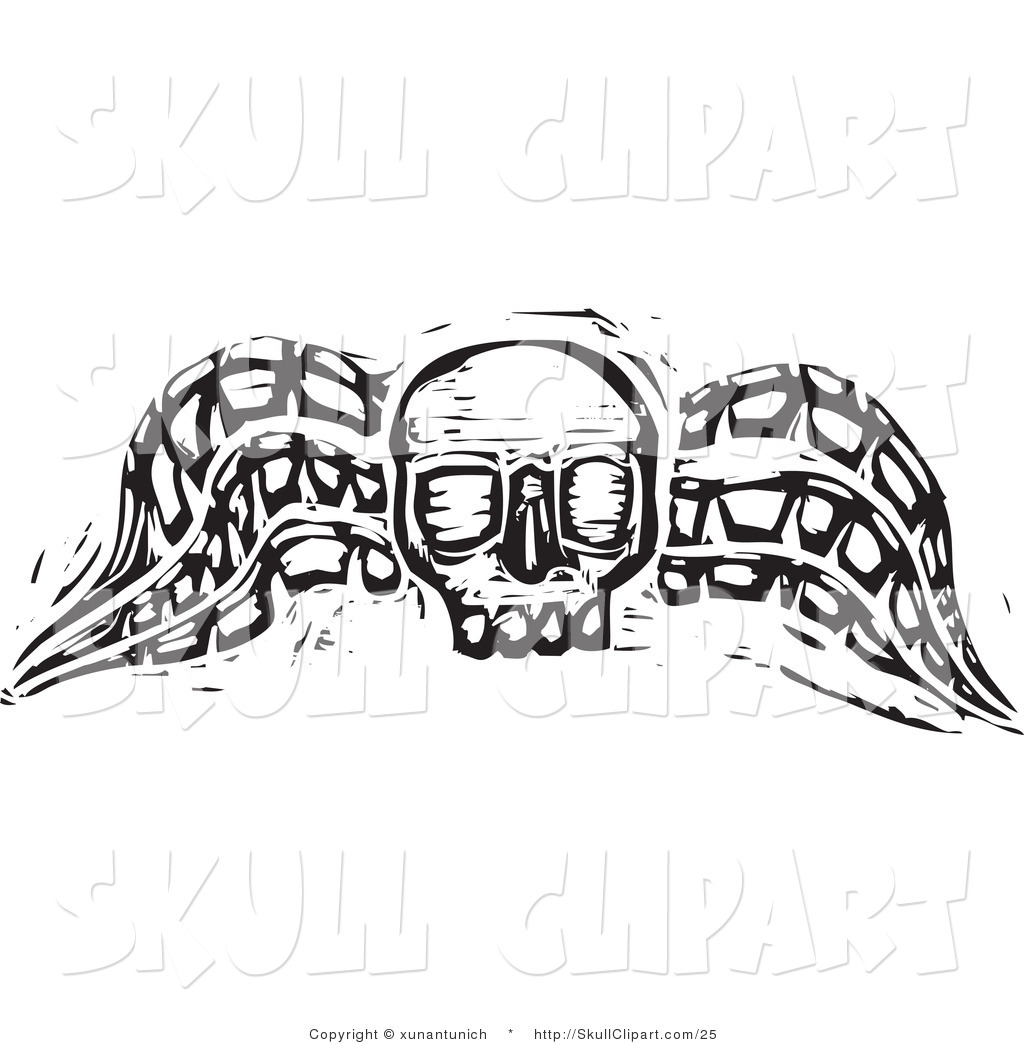 Vector Clip Art of a Black and White Wood Carved Textured Winged.