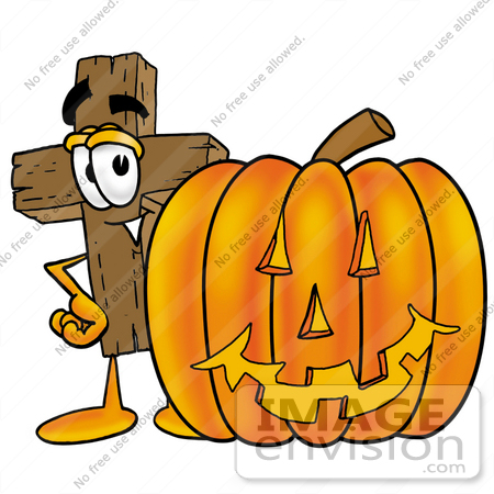 Clip Art Graphic of a Wooden Cross Cartoon Character With a Carved.