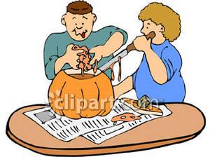 Carving A Pumpkin Clipart.