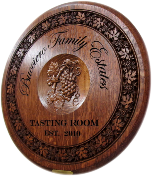 Flat Head Wine Barrel Carving with 3D Central Grapes.