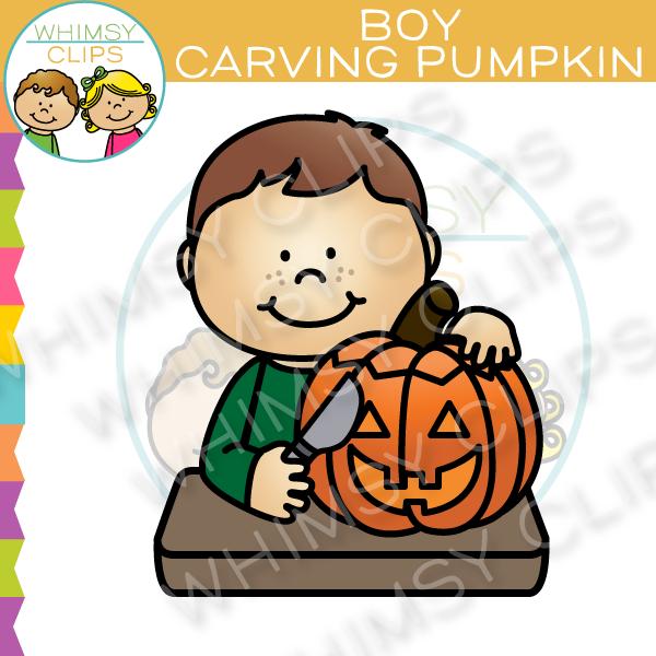 Boy Carving a Pumpkin Clip Art , Images & Illustrations.