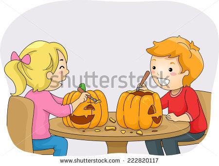 Kids Carving Pumpkins Stock Photos, Royalty.