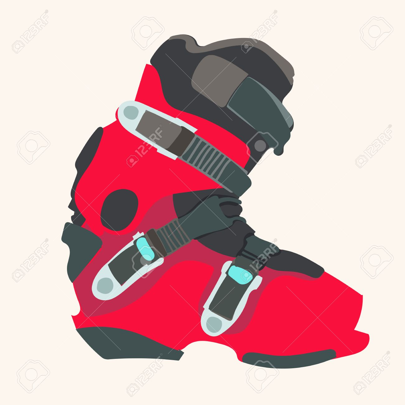 Snowboard Carving Boot In Red Color . Royalty Free Cliparts.