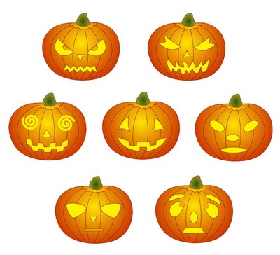 Carved pumpkins clipart.