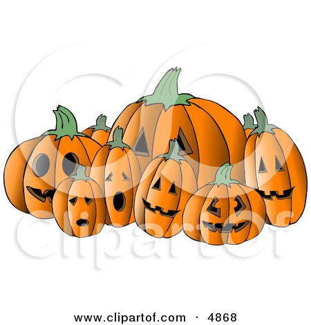 Scary Halloween Pumpkin Carvings Clipart by Dennis Cox #4868.
