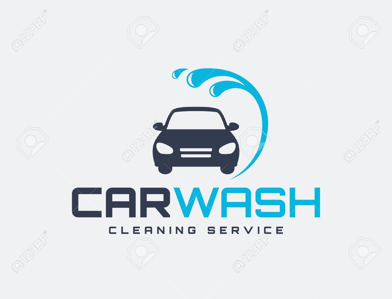 Carwash logo isolated on white background. Vector emblem for...