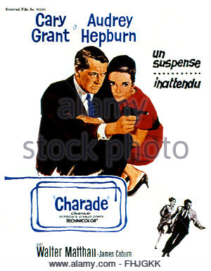 Charade 1963 Real Stanley Donen Cary Grant Audrey Hepburn Stock.