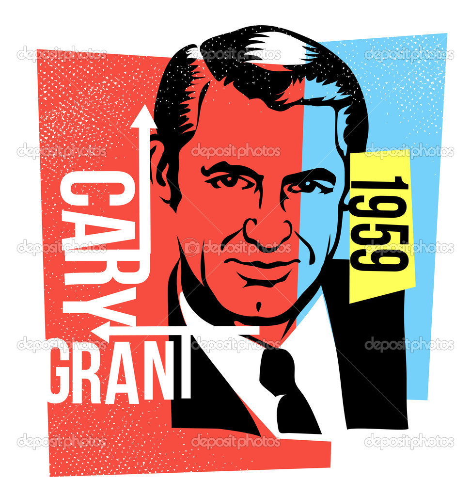 Vector graphic design cary grant — Stock Vector © TeddyandMia.