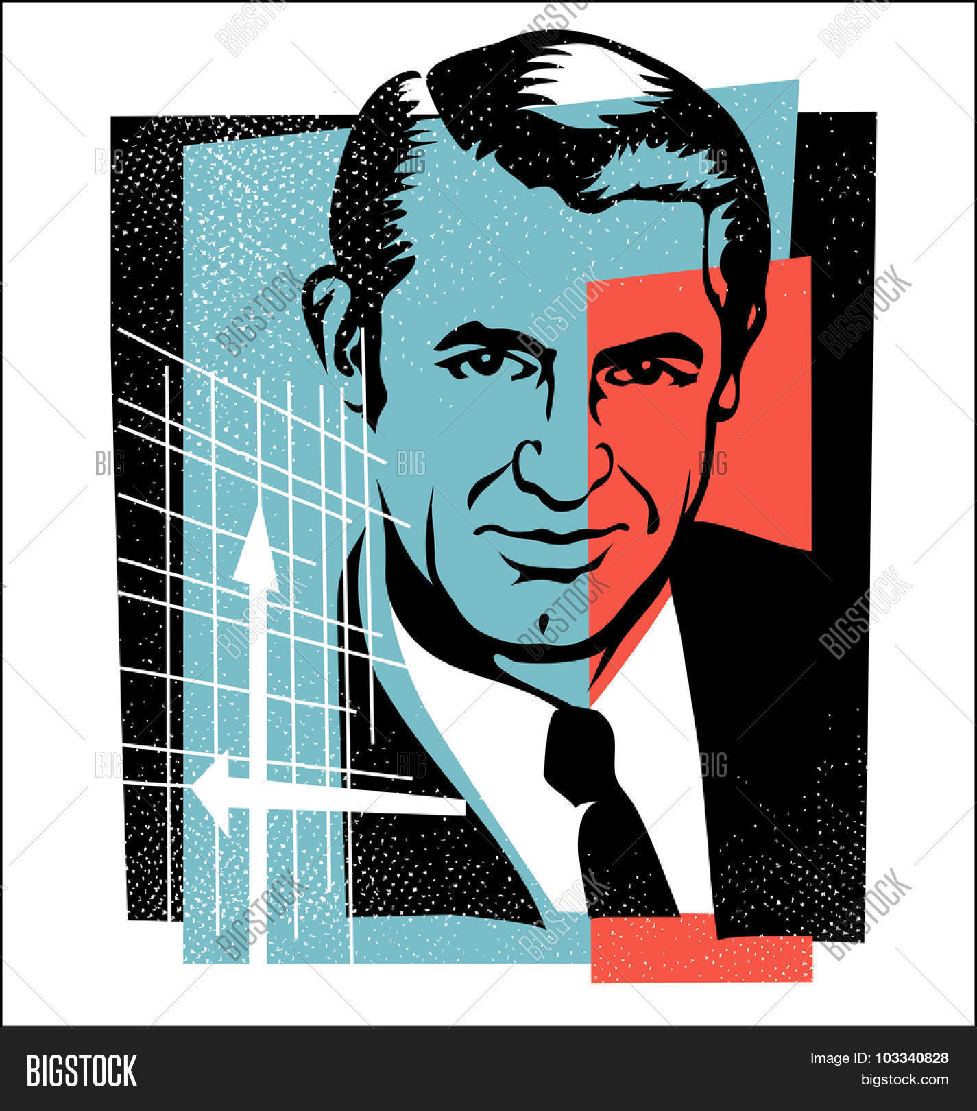Oct.1, 2015: vector Illustration of actor Cary Grant in retro.