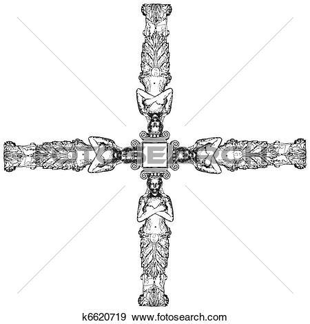 Clip Art of Greek Caryatid In The Cross k6620719.