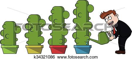 Clip Art of Business man watering cactus invest k34321086.