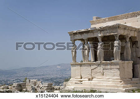 Stock Photo of Greece, Athens, Temple of Erechtheion with Porch of.