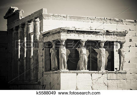 Stock Photograph of caryatids, acropolis, athens k5588049.