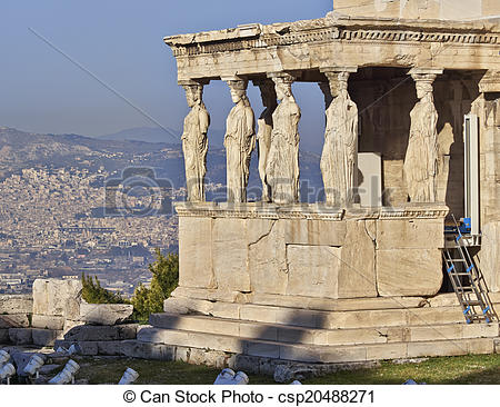 Picture of Caryatids statues, erechteion temple, Athens Greece.