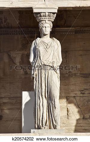 Stock Photo of Caryatid statue, erechteion temple, Athens Greece.