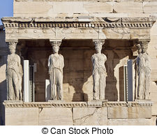 Stock Photo of Caryatid ancient statue Athens Greece.