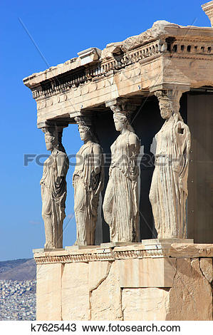 Stock Photo of Caryatids, erechtheion temple Acropolis k7625443.