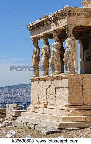 Pictures of Caryatids at Porch of the Erechtheion, Acropolis.