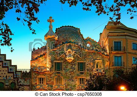 Pictures of Casa Batllo at night. csp7650308.