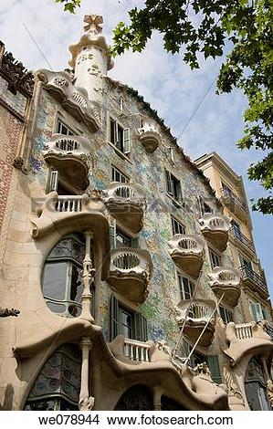 Stock Photo of Detail of Casa Batllo in Paseo de Gracia Avenue in.