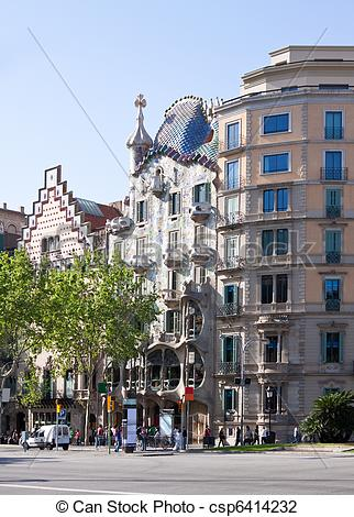 Stock Photo of Casa Batllo by Gaudi. Barcelona.