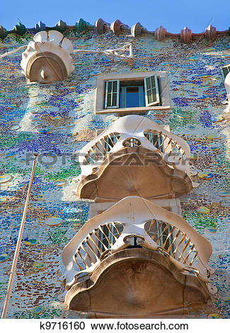 Stock Photography of Barcelona Casa Batllo facade of Gaudi.