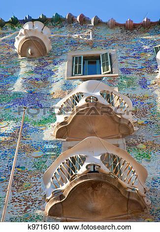 Stock Photography of Barcelona Casa Batllo facade of Gaudi.