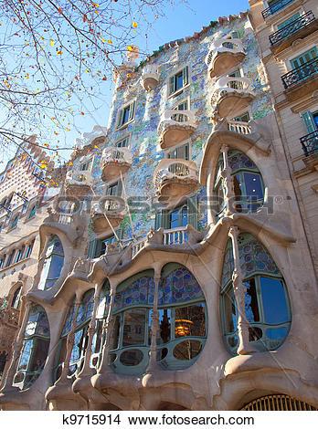 Stock Photo of Barcelona Casa Batllo facade of Gaudi k9715914.