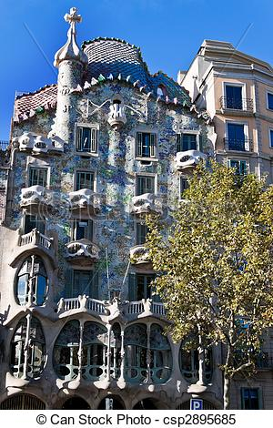 Stock Images of Casa Batllo, Barcelona, Spain.
