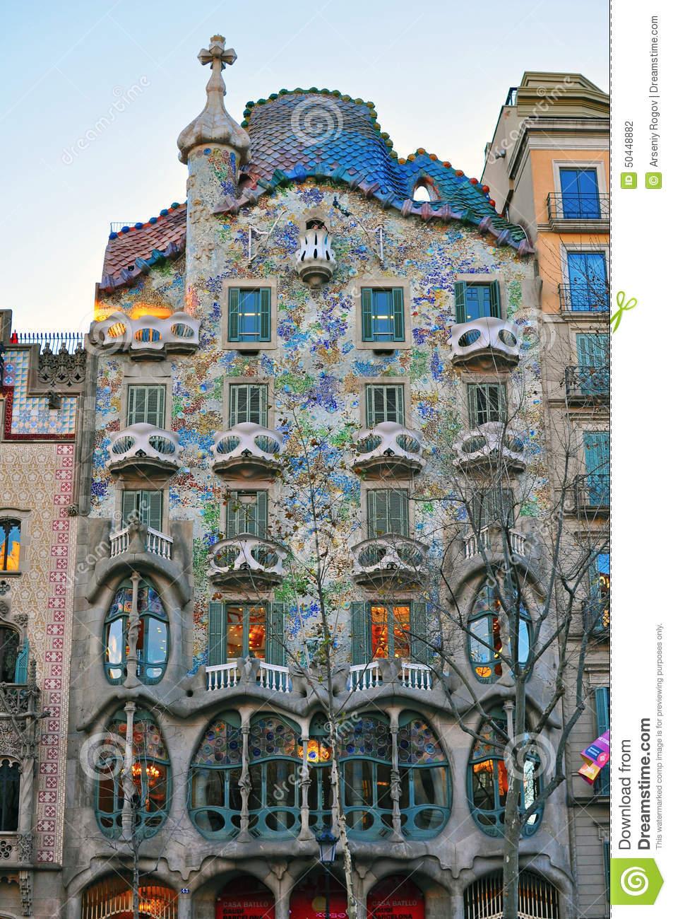 Facade Of The Casa Batllo By Gaudi In Barcelona Editorial.