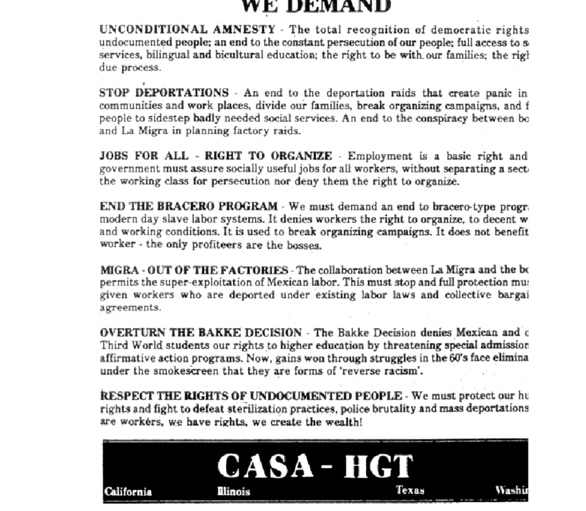 List of CASA's demands concerning immigration. Source: Box 31.