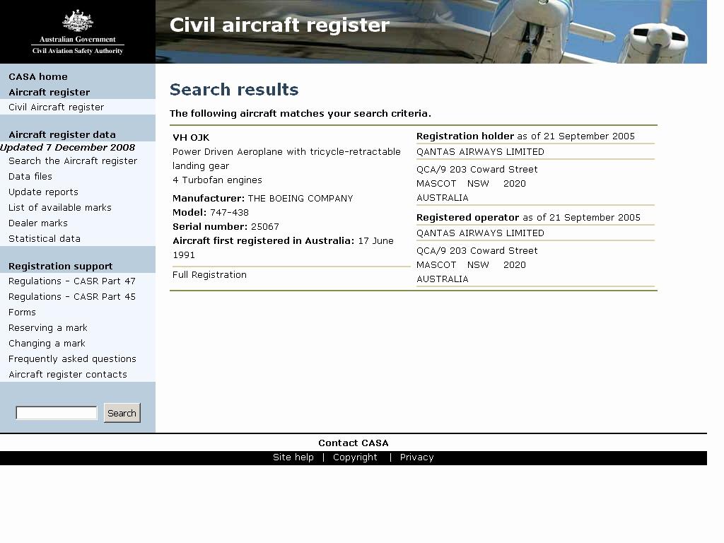 Casa Png Aircraft Register.