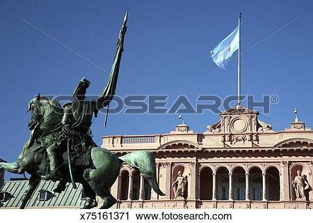 Stock Photography of Casa Rosada, the Presidential Palace, Plaze.