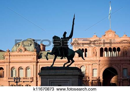 Stock Photo of General Belgrano monument in front of Casa Rosada.