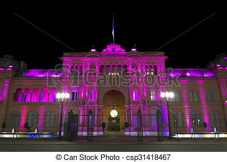Stock Image of Casa Rosada (Pink House) by night.