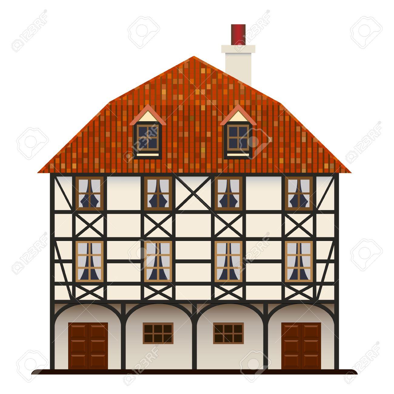 Fachwerk Casa Vieja Casa Tradicional Europea Aislada Ilustraciones.