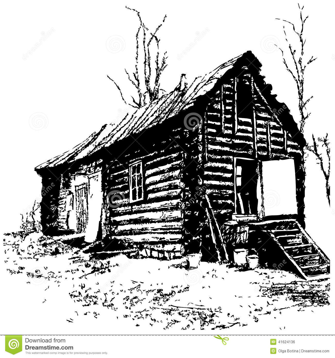 Old House Stock Vector.